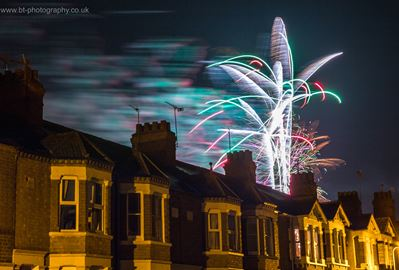 Giant fireworks above houses in Wolverton