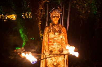 A costumed fire performer, performing at the Secret Garden Winter Illuminations