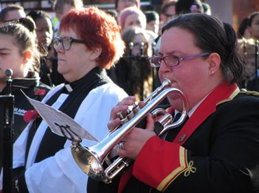 Trumpeter performing at the Remembrance ceremony