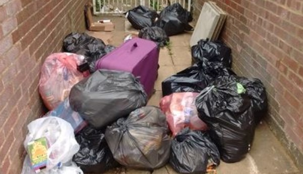 An example of rubbish bags that have been flytipped.