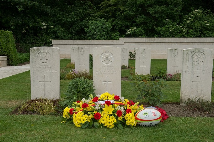 Flowers at a graveside in Ploegsteert, Belgium.