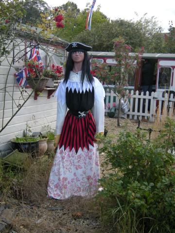 A pirate scarecrow in a garden.