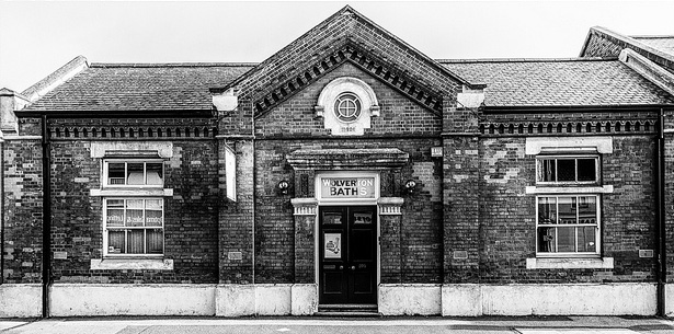 Black and white picture of The Old Bath House