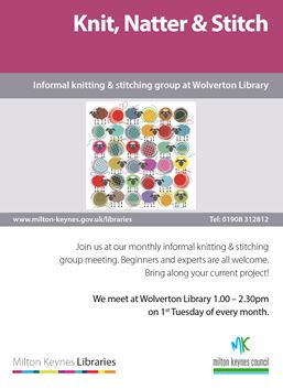 Knit, Natter & Stitch Library Poster
