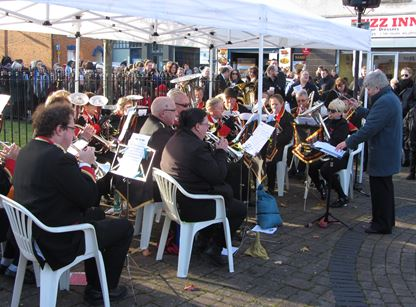 Wolverton Town Band playing at the Remembrance ceremony in the Square, Wolverton